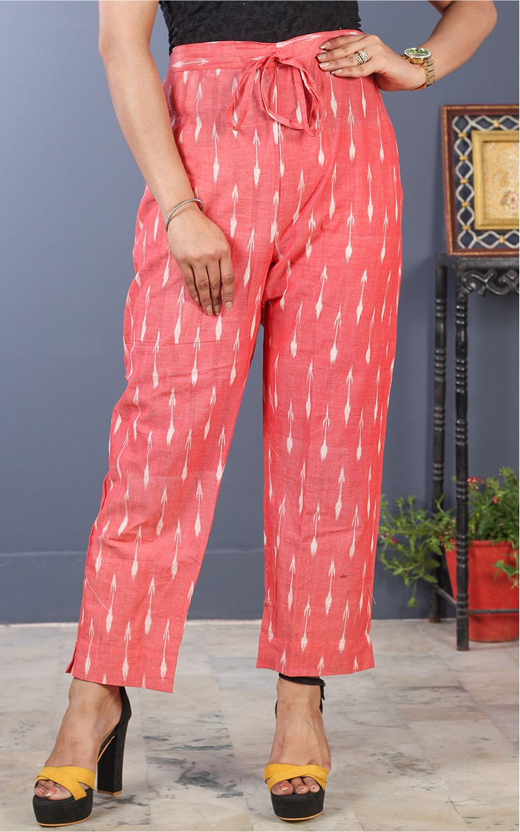 Pink White Cotton Ikat Ankle Women Pant-34688