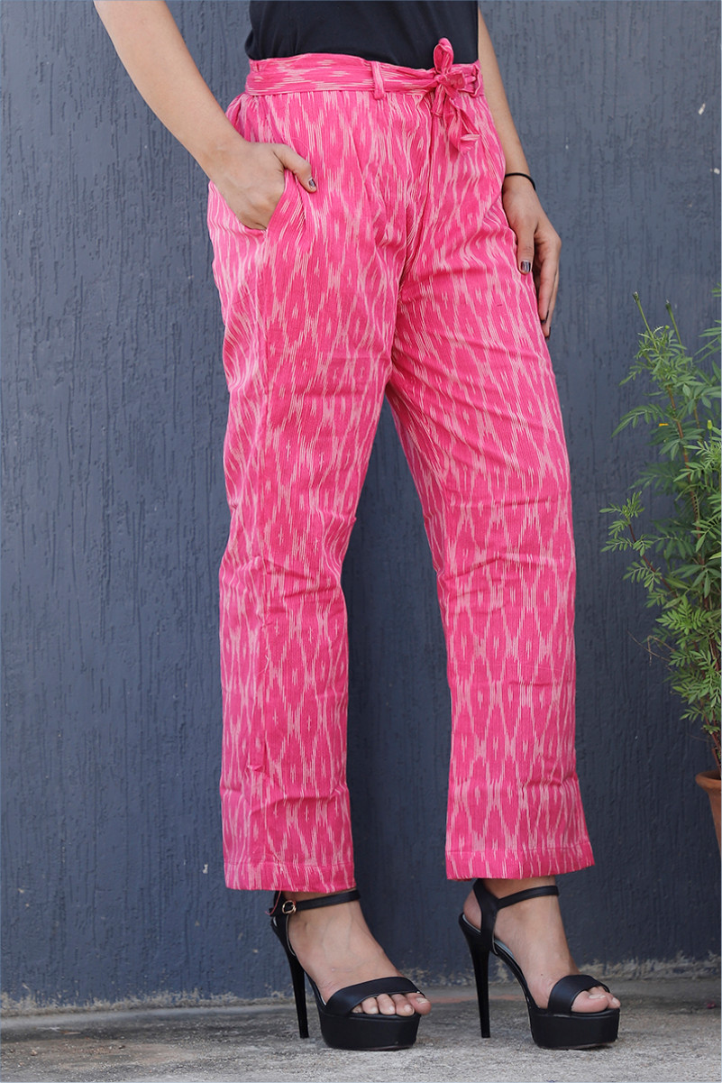 Pink White Cotton Ikat zig zag Narrow Pant-34035