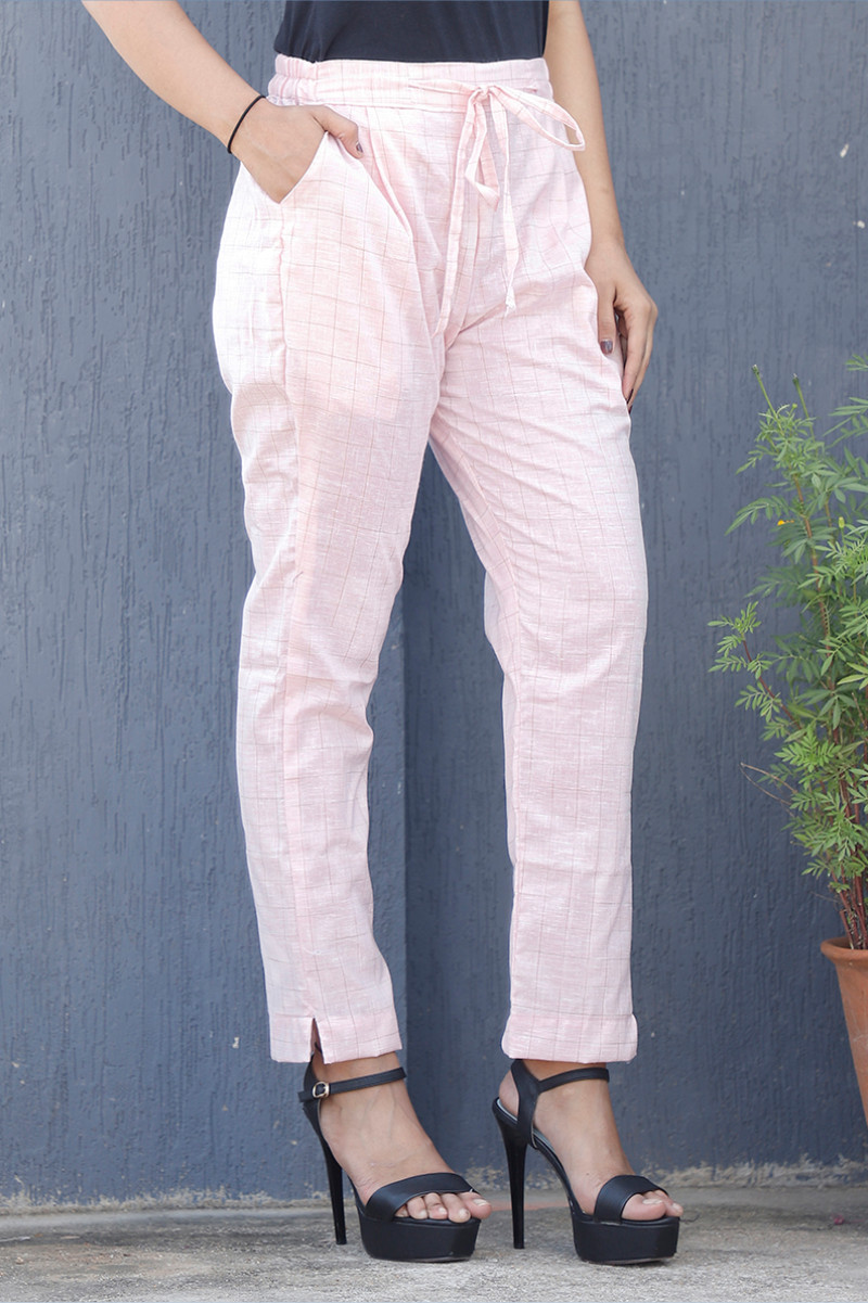 Pink White Cotton Checks Pant with Belt-34069