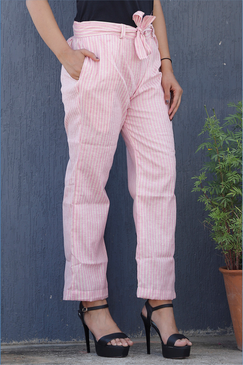 Pink White Cotton Stripe Pant with Belt-34123