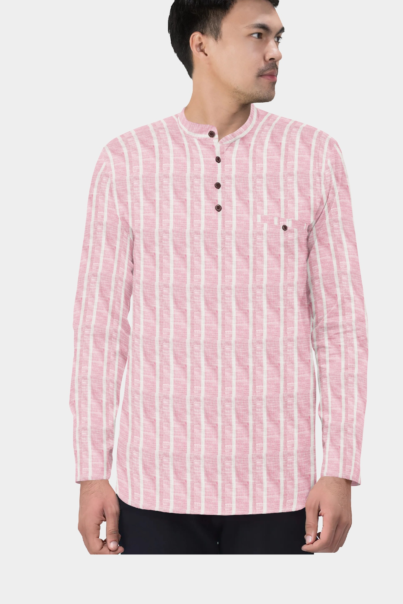 Pink White Cotton Striped Short Kurta-35427