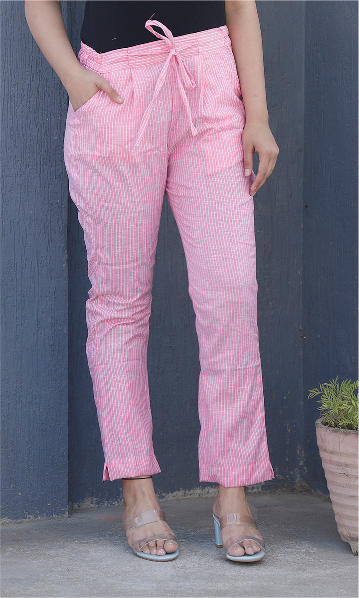 Pink White Cotton Stripe Ankle Women Pant-34464
