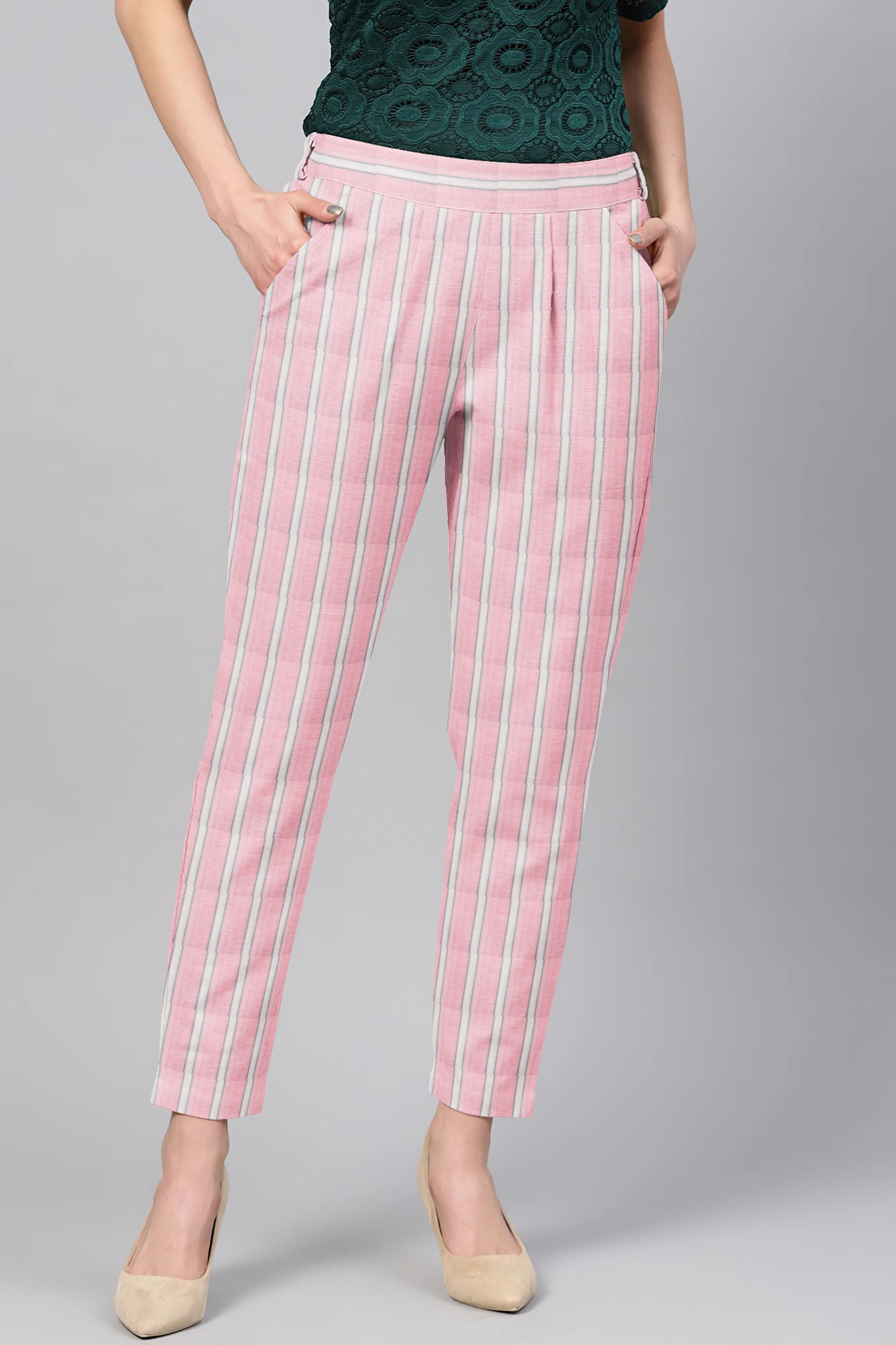 Pink White Cotton Stripe Regular Fit Solid Trouser-36063