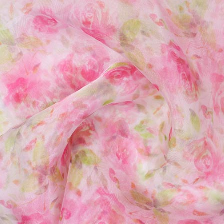 Pink White Digital Organza Silk Fabric-51716