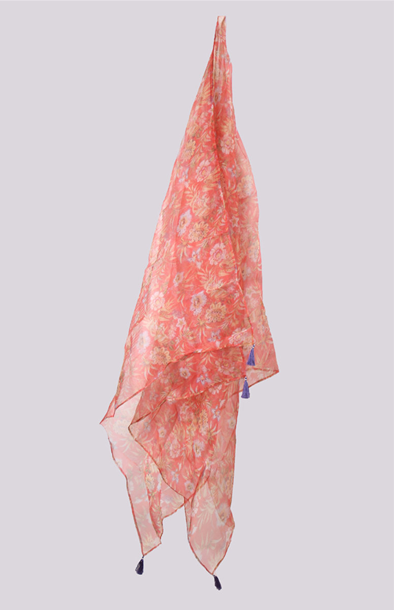 Pink White Digital Printed Organza Dupatta with Tassel-33431