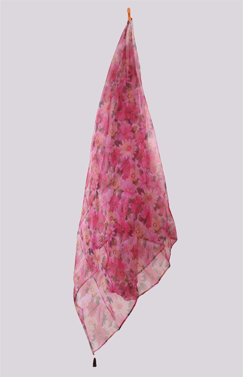 Pink White Digital Printed Organza Dupatta with Tassel-33437