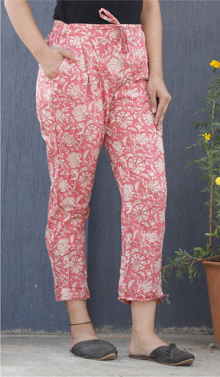 Pink White Floral Block Print Cotton Pant-34107
