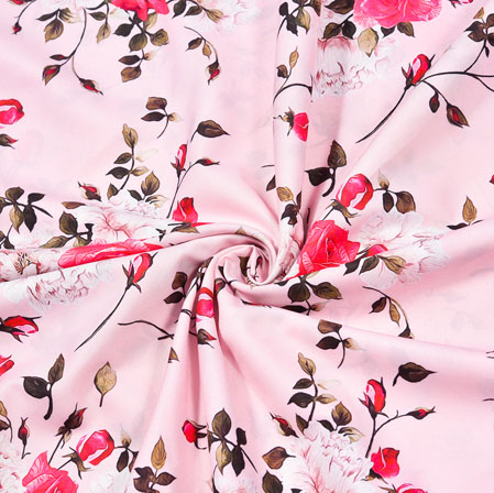Pink White Floral Crepe Silk Fabric-41017