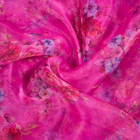 Pink White Floral Organza Digital Silk Fabric-22341