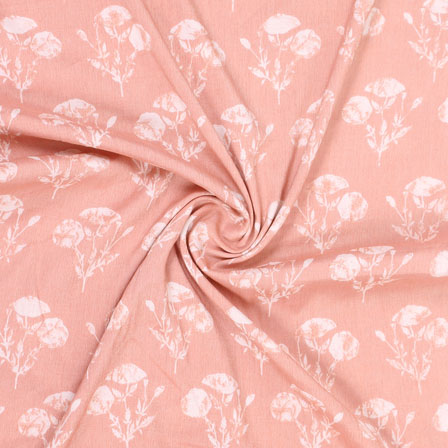 Pink White Floral Print Rayon Fabric-15267