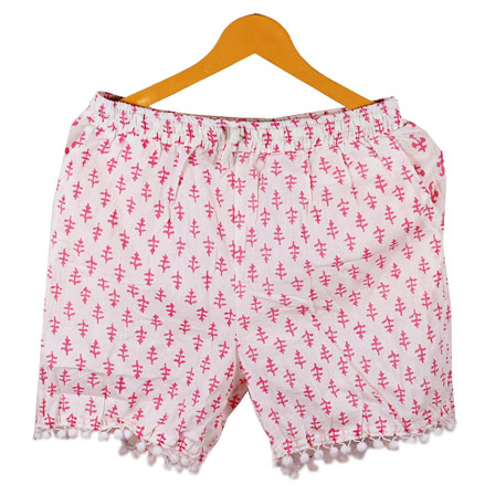 Pink White Flower Cotton Block Print Short-14661