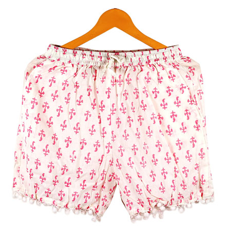 Pink White Flower Cotton Block Print Short-14673