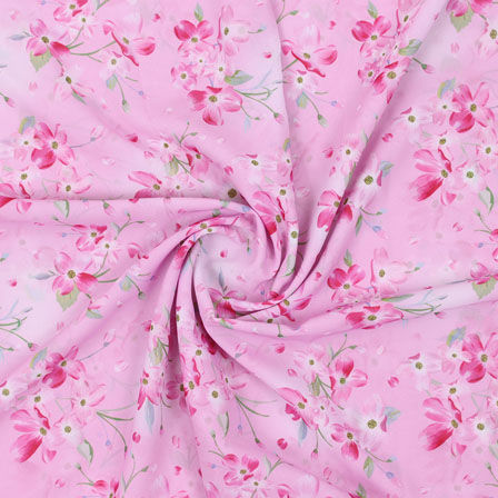 Pink White Flower Georgette Silk Fabric-15243
