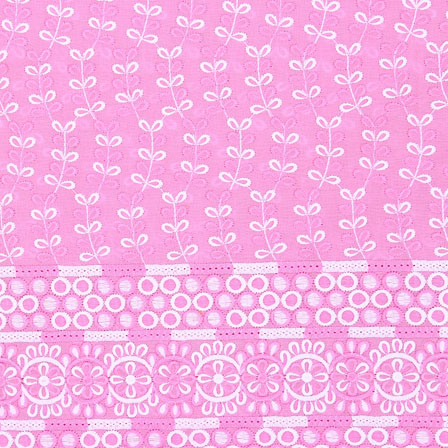 Pink White Flower Lucknowi Chikan Fabric-95019