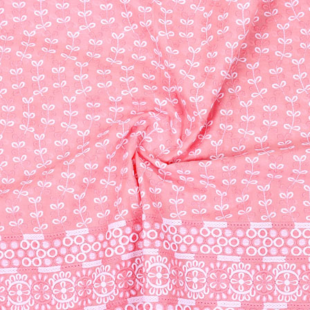 Pink White Flower Lucknowi Chikan Fabric-95021