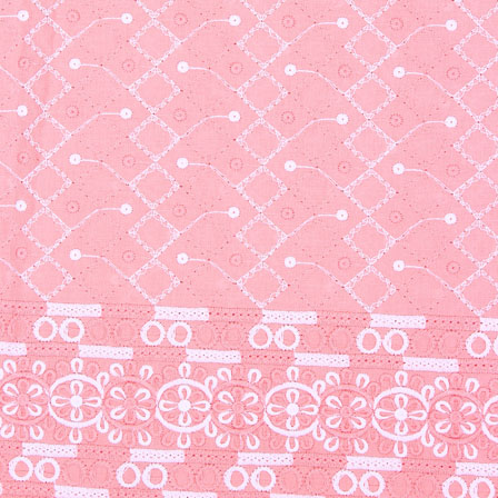 Pink White Flower Lucknowi Chikan Fabric-95022