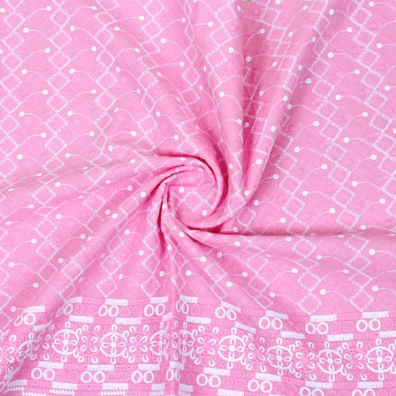 Pink White Flower Lucknowi Chikan Fabric-95025