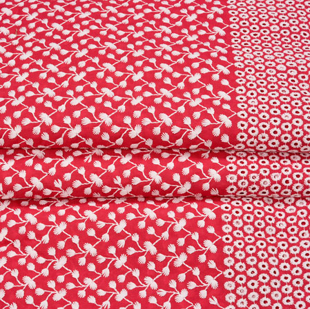 Pink White Flower Lucknowi Chikan Fabric-95034