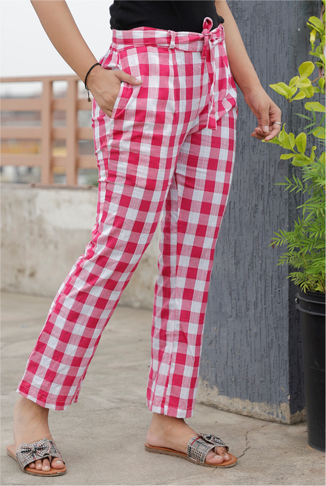 Pink White Handloom Cotton Checks Narrow Pant with Belt-33888