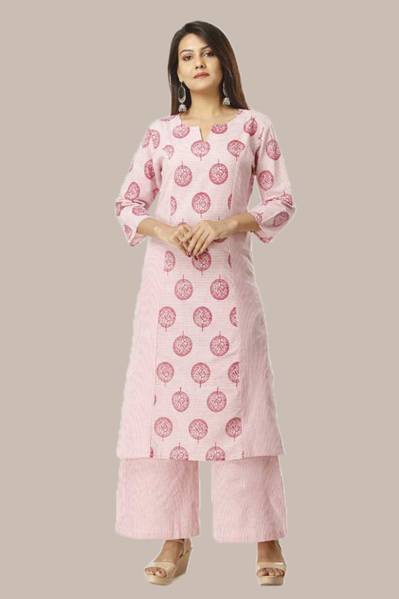 Kurta Pant Set-Pink White Handloom Cotton Kurta Stripe Palazzo Set -33739