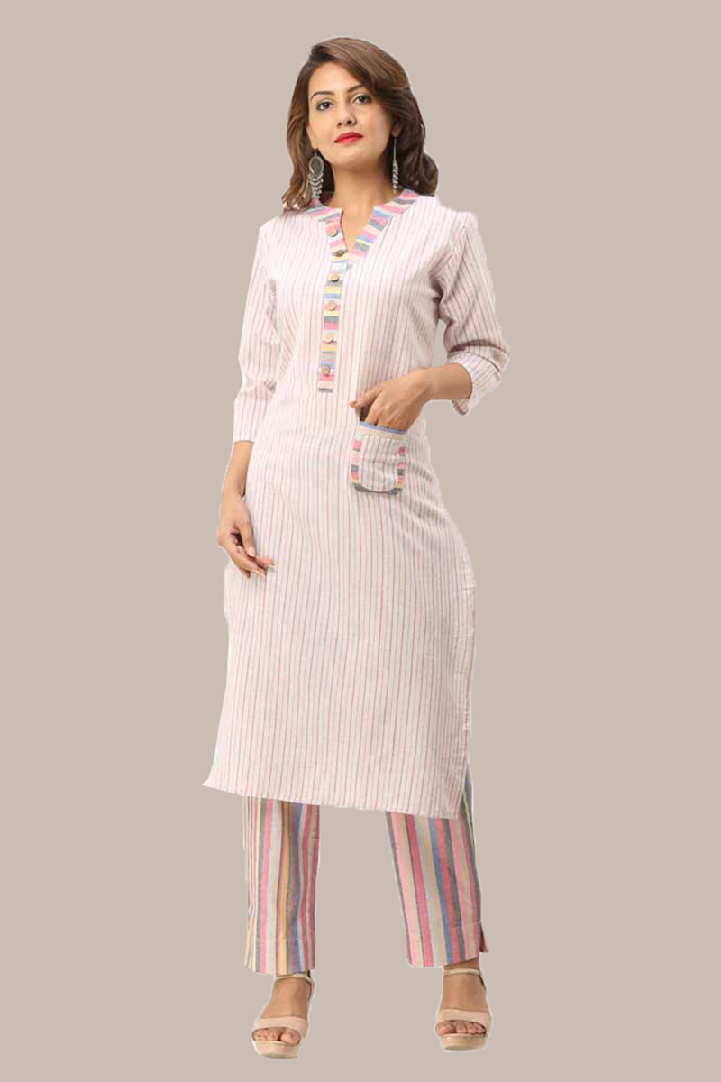 Kurta Pant Set-Pink White Handloom Cotton Kurta Stripe Pant Set-33723