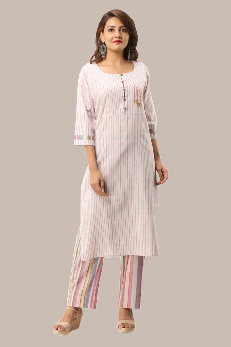 Kurta Pant Set-Pink White Handloom Cotton Kurta Stripe Pant Set-33724