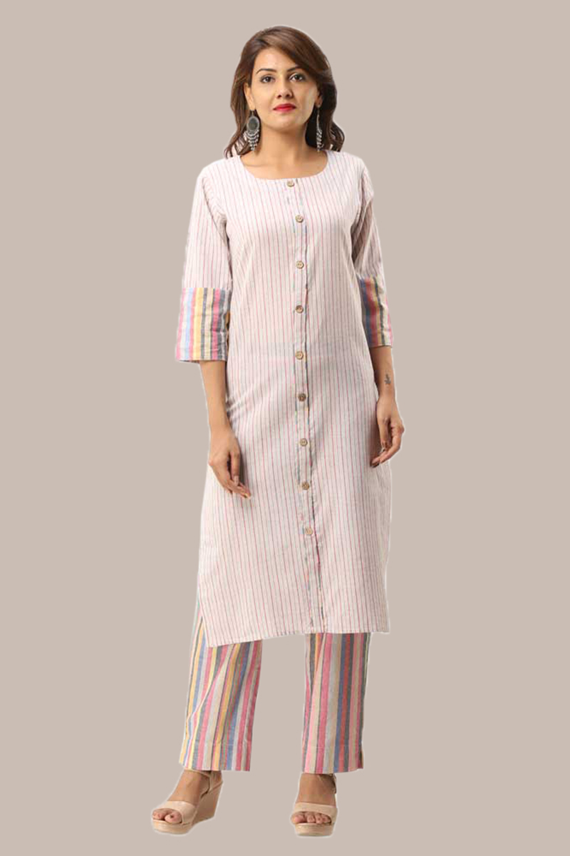 Kurta Pant Set-Pink White Handloom Cotton Kurta Stripe Pant Set-33726