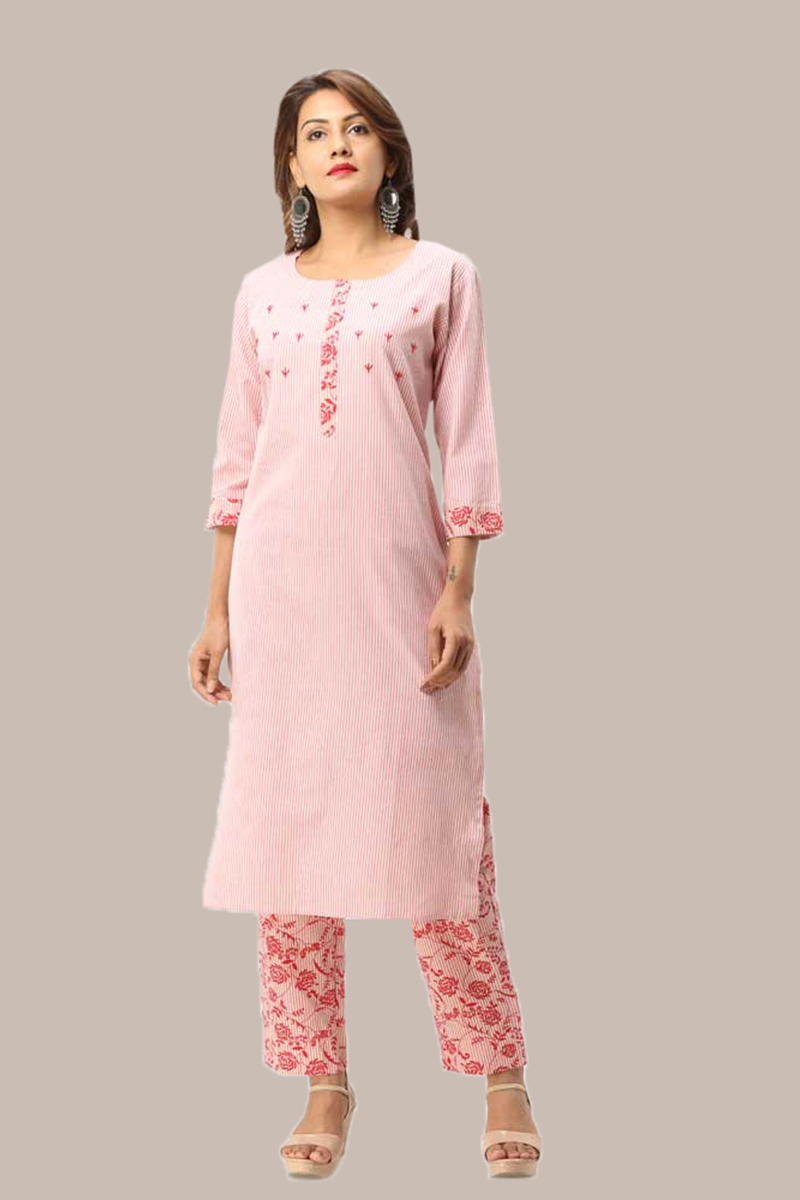 Kurta Pant Set-Pink White Handloom Cotton Kurta Stripe Pant Set-33732