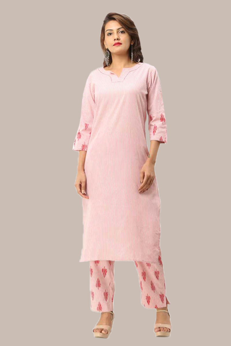Kurta Pant Set-Pink White Handloom Cotton Kurta Stripe Pant Set-33733