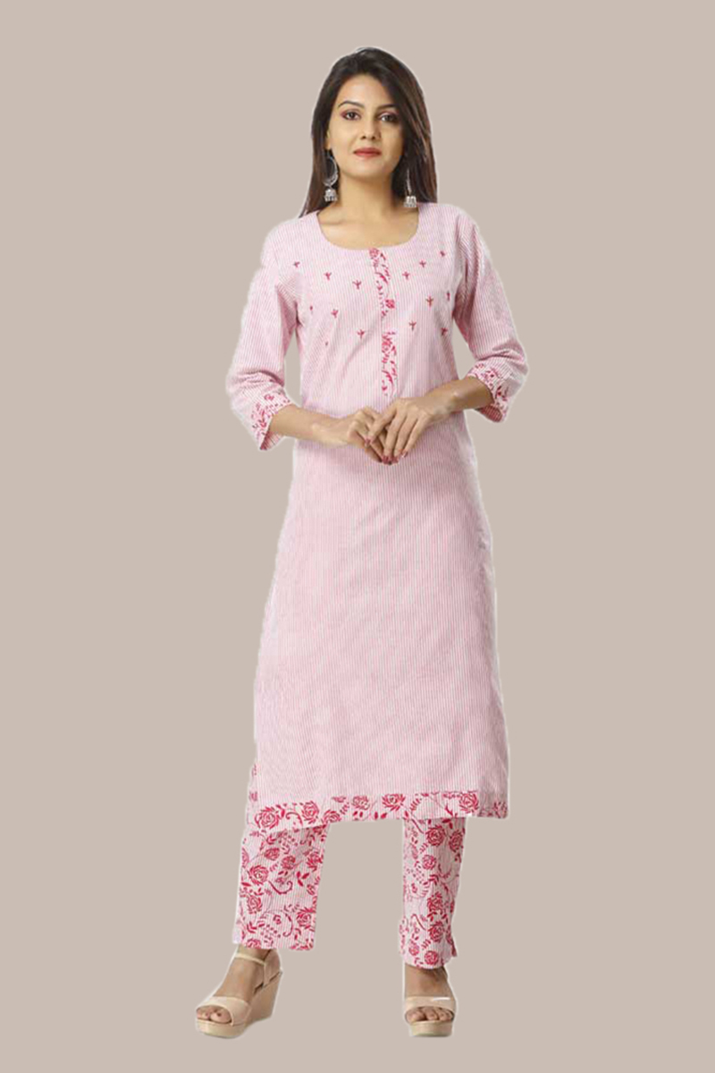Kurta Pant Set-Pink White Handloom Cotton Kurta Stripe Pant Set-33740