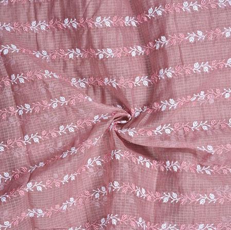 Pink White Leaf Munga Embroidery Fabric-28293