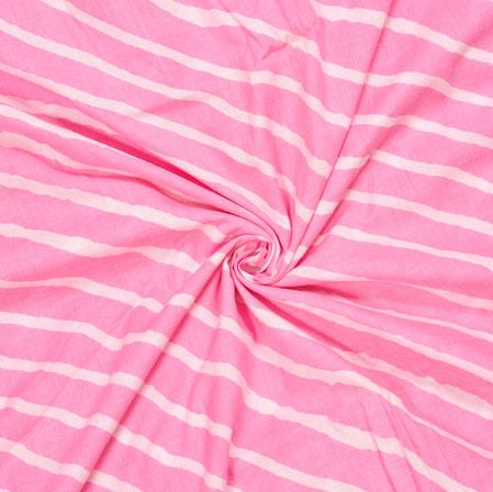 Pink White Leheriya Cotton Fabric-28064