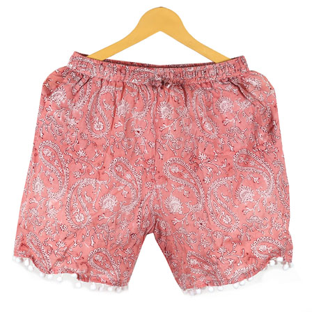 Pink White Paisley Cotton Block Print Short-14665