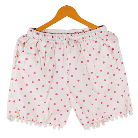 Pink White Polka Cotton Block Print Short-14674