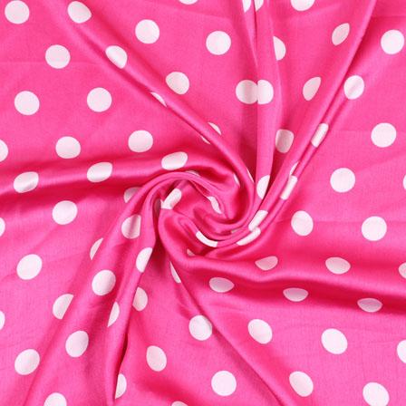Pink White Polka Japan Satin Fabric-18187