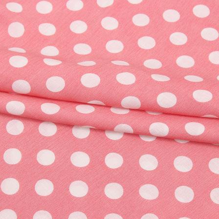 Pink White Polka Print Rayon Fabric-15278