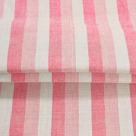 Pink White Stripe Handloom Cotton Fabric-40991