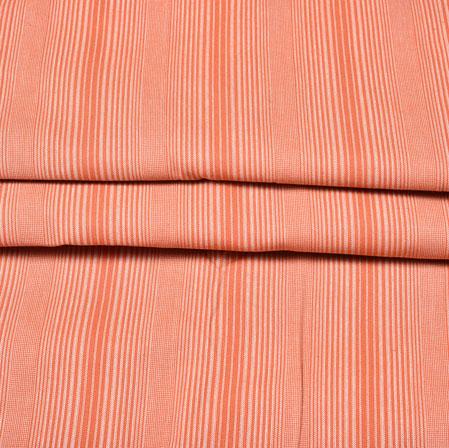 Pink White Stripe Handloom Cotton Fabric-42418