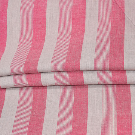 Pink White Stripe Handloom Fabric-42008