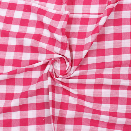 Pink White Striped Handloom Cotton Fabric-40746