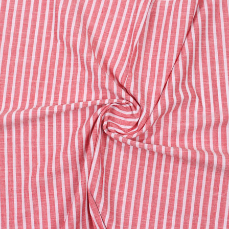 Pink White Striped Handloom Cotton Fabric-40750