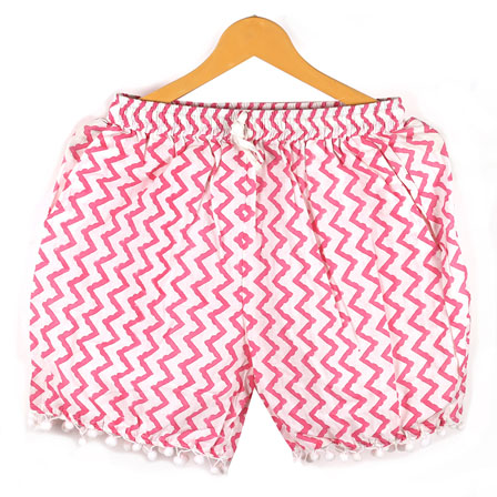 Pink White Zig-Zag Cotton Block Print Short-14664