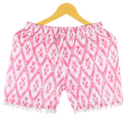 Pink White Zig-Zag Cotton Block Print Short-14671