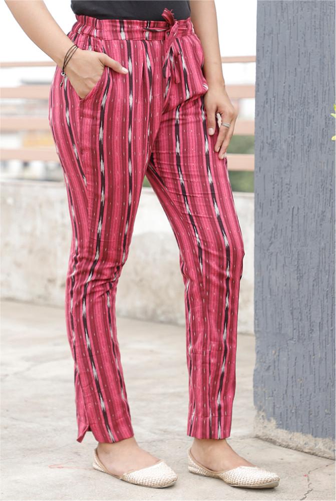 Pink White and Black Cotton Ikat zig zag Narrow Pant-33870