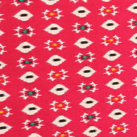 Pink-White and Black Square Pattern Kalamkari Cotton Fabric-10041