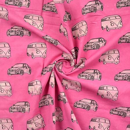 Pink-White and Black Vehicle Design Cotton Block Print Fabric-14389