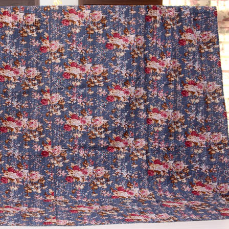 Pink-White and Blue Handmade Flower Pattern Kantha Quilt-4369