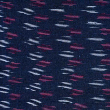 Pink-White and Blue Iconic Pattern Ikat Fabric-4240