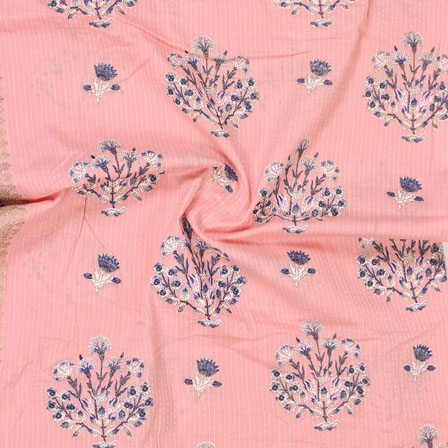Pink White and Blue Kantha tree Print Cotton Fabric-15134