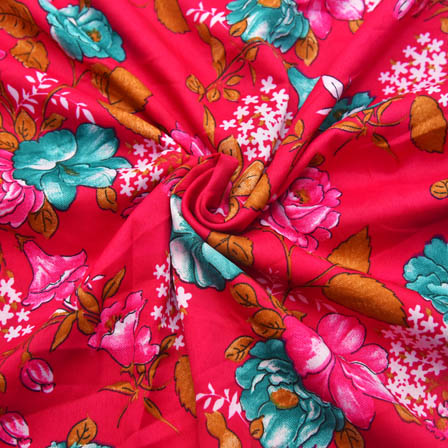 Pink-White and Green Floral Design Crepe Fabric-18009